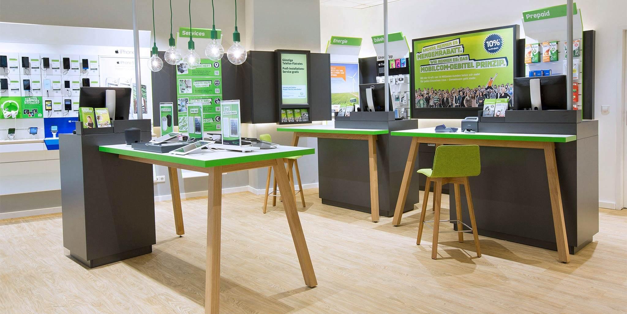 mobilcom-debitel: Shopdesign von der Designagentur Preussisch Portugal