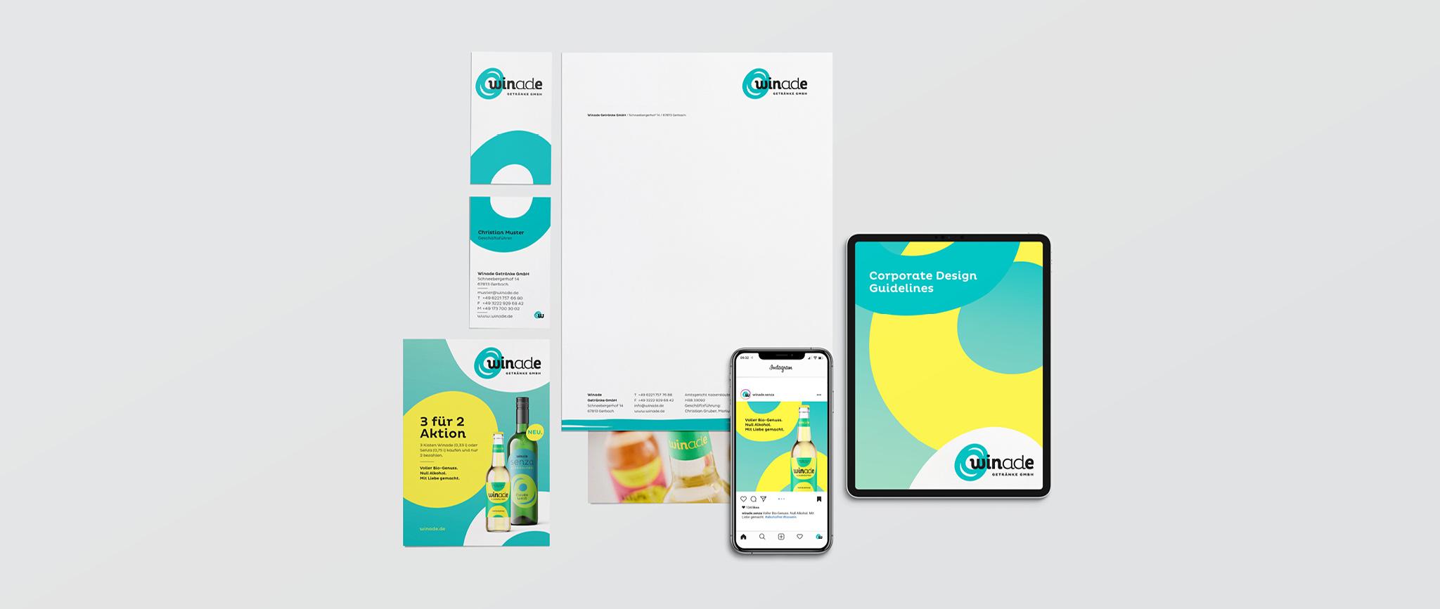 Winade Markenentwicklung: Stationary Anzeigen und Manual